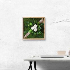 Moss Art with Roses - 40x40cm - wooden frame - work space view