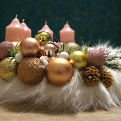 Christmas Advent Wreath pink-gold with candles