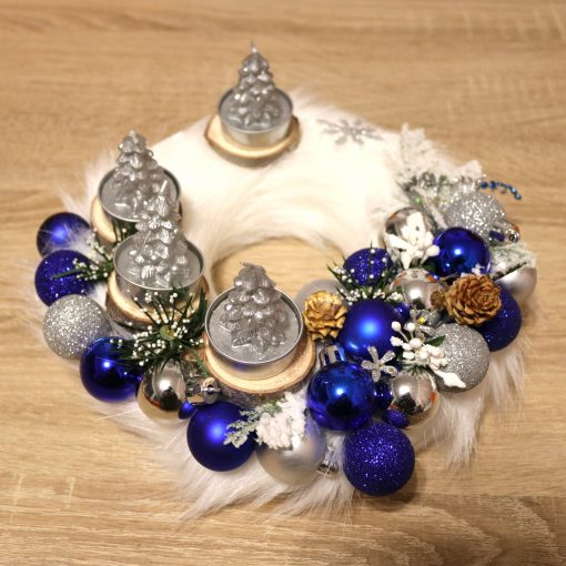 Christmas Advent Wreath blue silver with decor candles